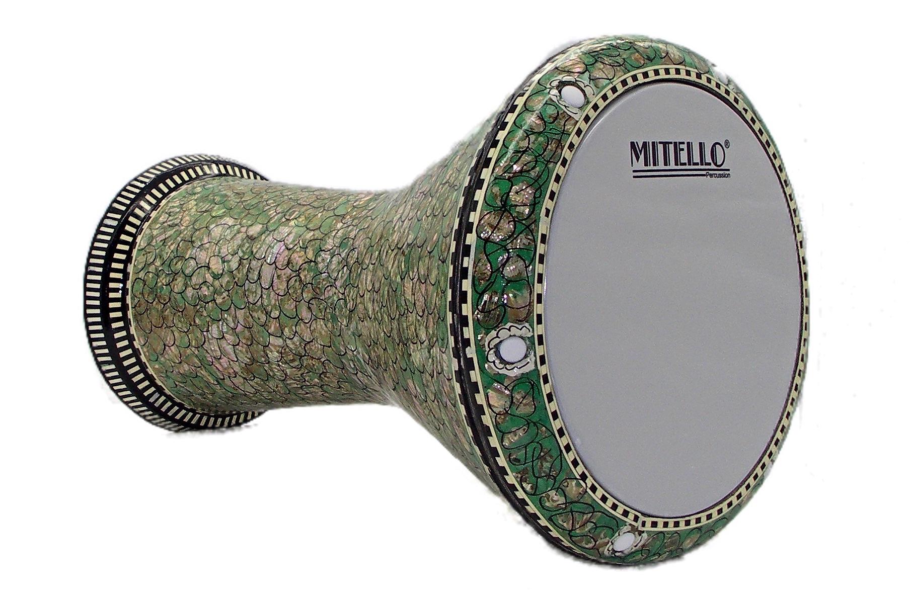 Egyptian-Unknown-MOP-Green-Fish-Scale-Design-White-Mitello-Head-Darabuka